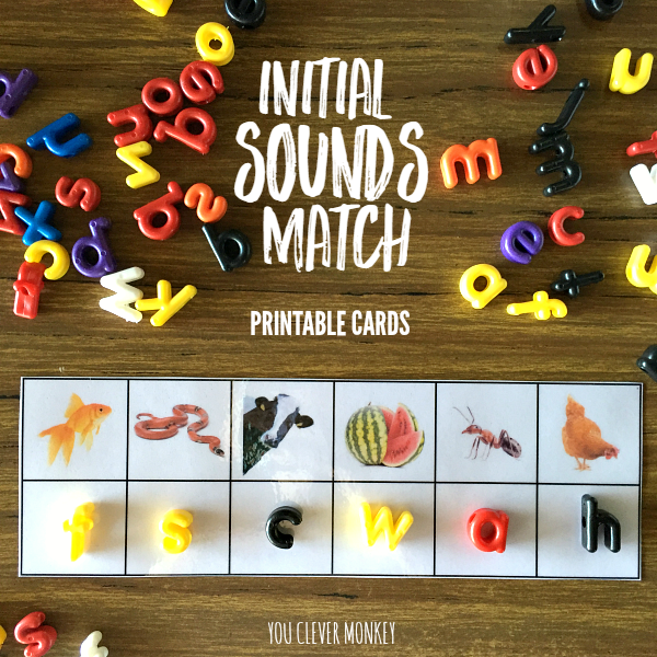 Printable Initial Sounds Match Cards - perfect for literacy centre activities | you clever monkey