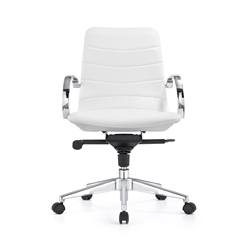 mid century modern office chair - white leather