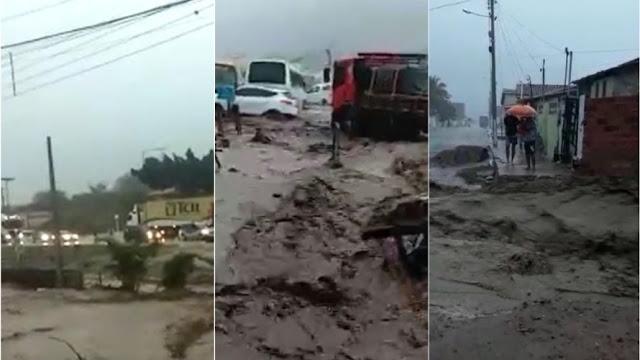 """Após estragos causados pela chuva, prefeito decreta estado de emergência em Milagres: """"Nunca vi isso aqui"""""""