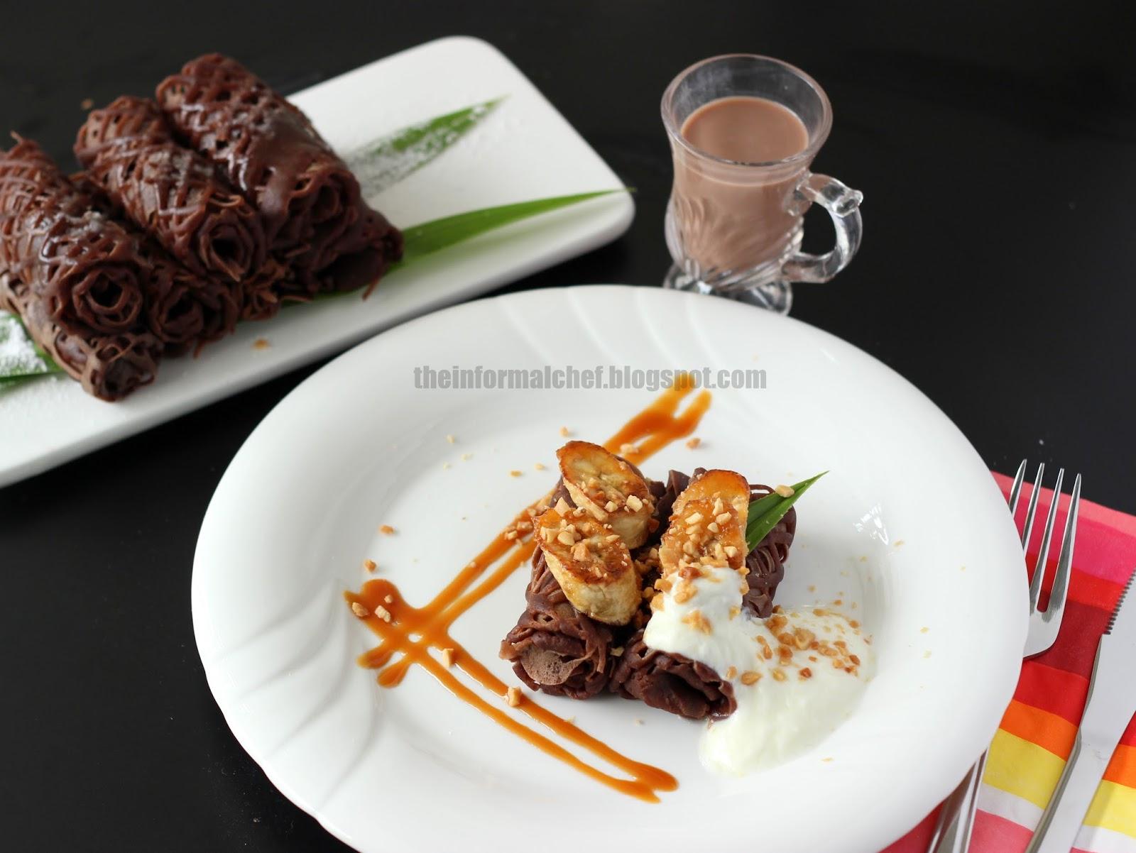 The Informal Chef Chocolate Roti Jala With Caramelised Bananas 焦糖香蕉巧克力网煎饼