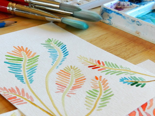 Bright watercolor ferns
