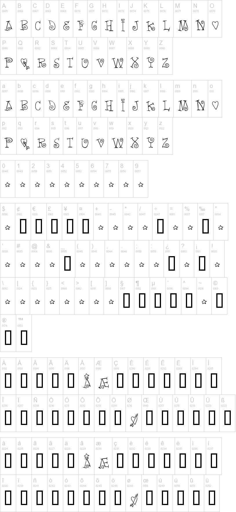 Palabras amor tipografia abecedario