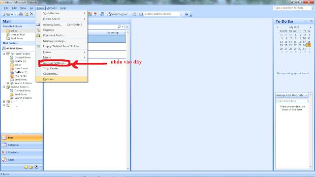 Hướng dẫn cấu hình webmail vào micrisoft outlook