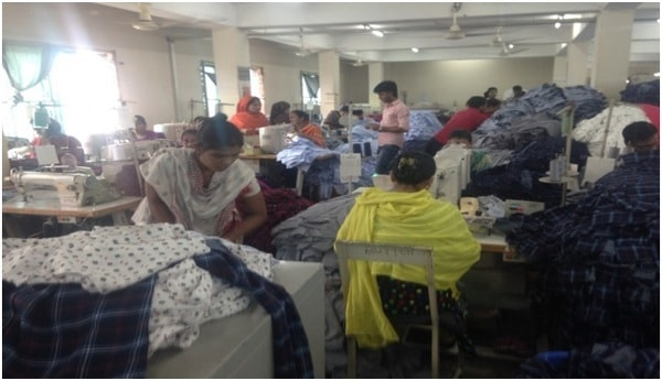 Work going on sewing section
