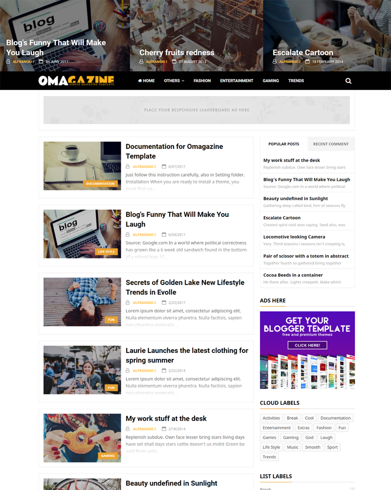 Omagazine is an awesome gratuitous Blogger topic ideal for periodical websites together with personal blogs Free Download Omagazine Blogger Template