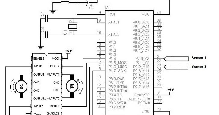 Electronic Schematic Diagram of Light Detector Robot using