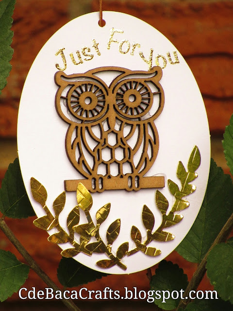 Handmade Owl Golden Gift Tag by CdeBaca Crafts.