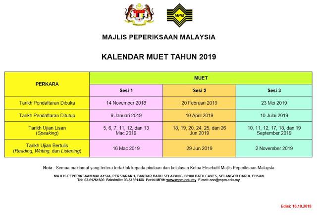 Kalendar Peperiksaan MUET 2019 MPM