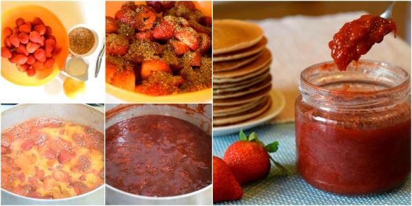Preparación mermelada de fresa y naranja