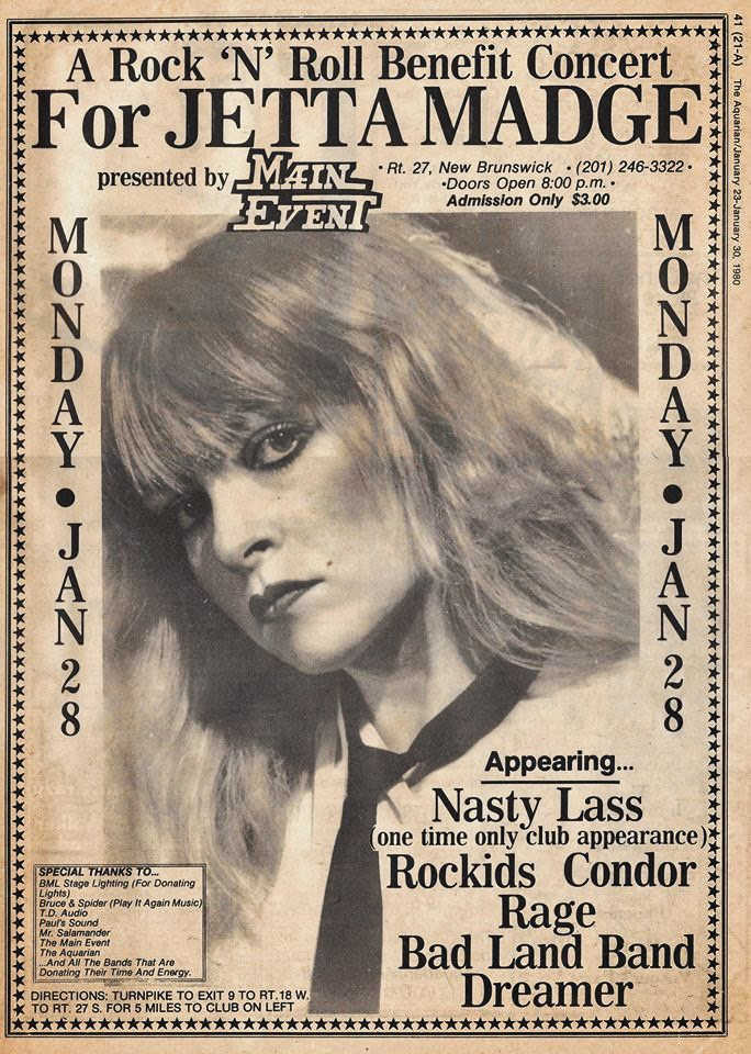 Benefit for Jetta Madge at the Main Event from the Aquarian January 30, 1980