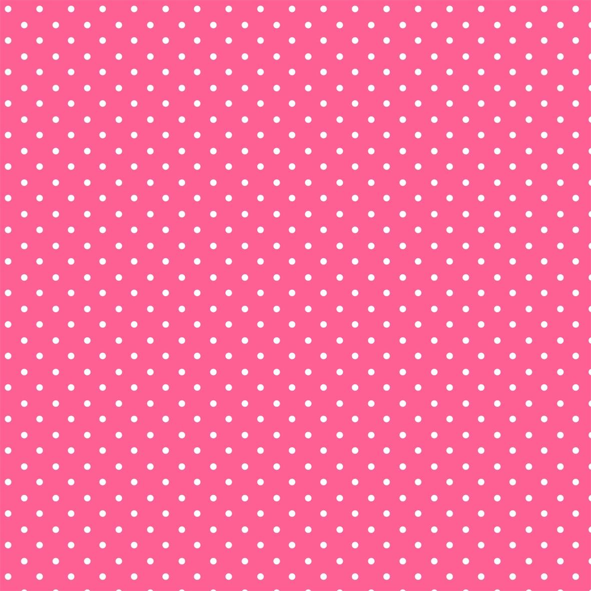 Fondo rosa con lunares blancos.