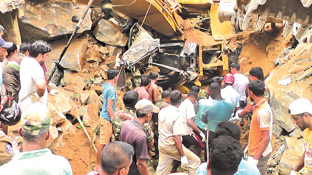 Earth embankment collapses in Laggala
