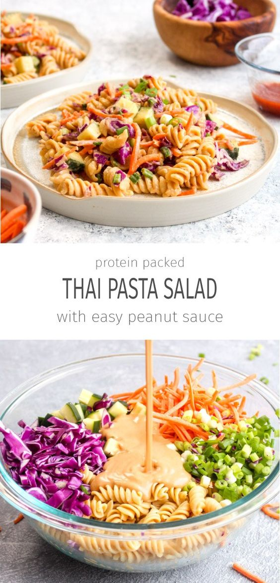 PROTEIN PACKED THAI PASTA SALAD (VEGAN + GLUTEN FREE) #protein #packed #thaipasta #pasta #pastarecipes #salad #vegan #veganrecipes #veggies #glutenfree