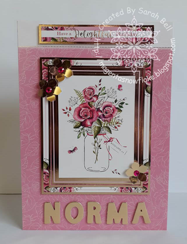 Magenta Snowflake Designs Birthday Card Using Rosy Posies
