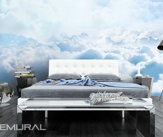 moln tapet himmel fototapet sovrum ljus blå tapet