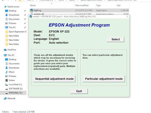 Epson  XP-222 RESETTER