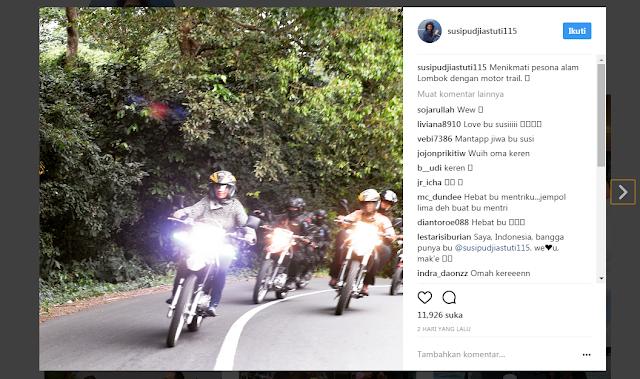 Menteri Susi Naik Motor Trail di Jalanan Pulau Lombok, Netizen: MANTAP JIWA!!