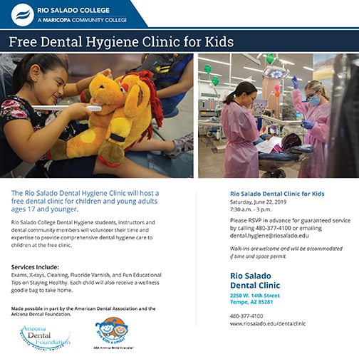 Poster for Give Kids a Smile Dental Clinic, featuring dental students and young paients.  Text in blog.