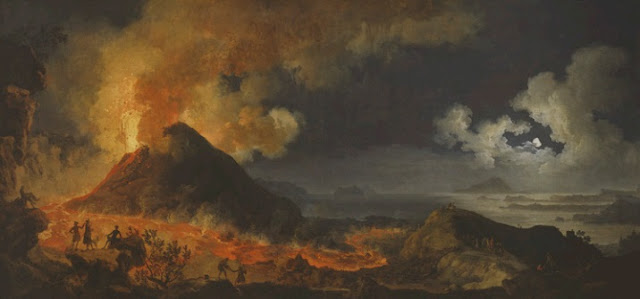 "obra de arte, paisaje, pintura al óleo, Pierre-Jacques Volaire,(French, 1729–99), ""The Eruption of Vesuvius"", 1771."