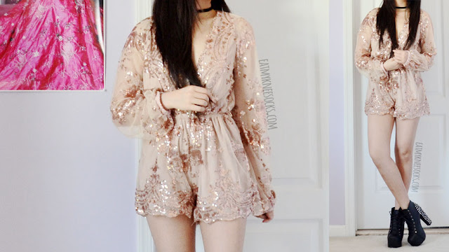 Detailed on the sequined plunging deep v-neckline scalloped sparkling long sleeve champagne beige nude romper from SheIn, the perfect party look.