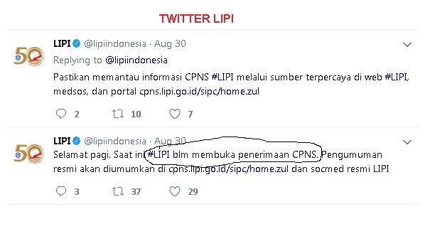 Beredar Informasi HOAX Tentang Pengumuman Penerimaan CPNS LIPI