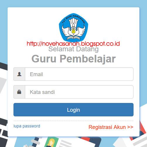 formulir login Guru Pembelajar Online (GPO) berisi isian email (username) dan password (kata kunci)