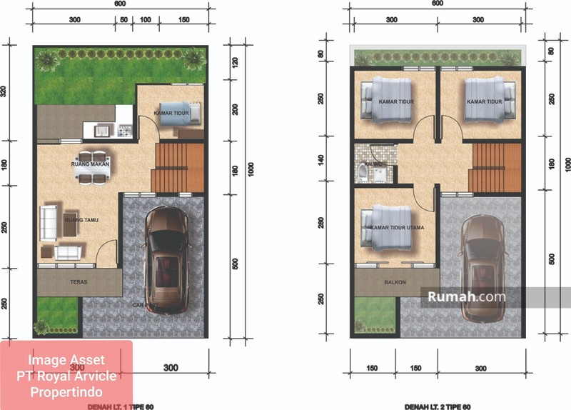 gambar denah rumah minimalis ukuran 6x10 1 lantai 3 kamar