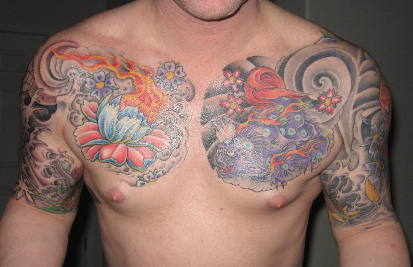 Men Chest And Upper Sleeve With Nice Flowers Tattoo: Tattoos For Men On Arm Sleeves