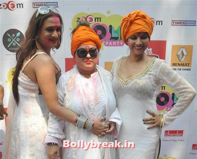 Laxmi Narayan Tripathi, Dolly Bindra and Tanisha Singh, Sunny, Tanisha, Poonam & Kainaat at Zoom Holi Party 2014