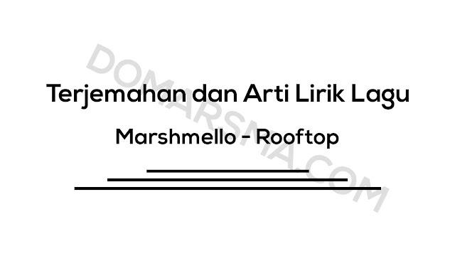 Terjemahan dan Arti Lirik Lagu Marshmello - Rooftop