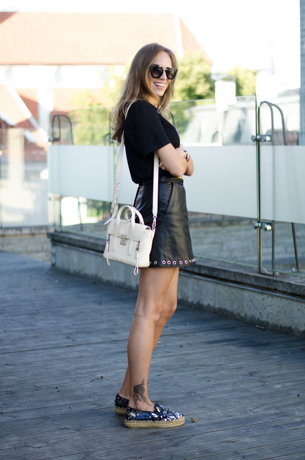 black tee leather mini skirt espadrilles outfit