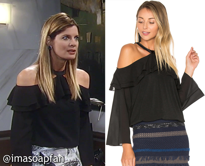 Nina Reeves, Michelle Stafford, Ruffled Black Cold Shoulder Top, Alice + Olivia, GH, General Hospital