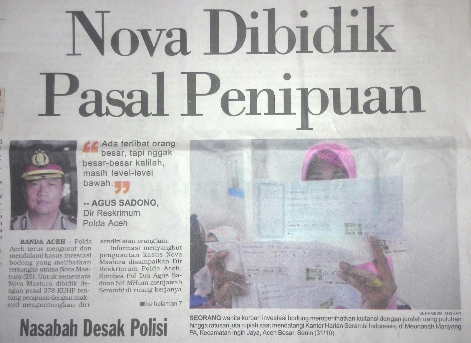 Kliping Koran Investasi Bodong Tertipu
