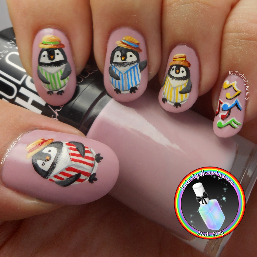 Freehand Barbershop Quartet Penguin Nail Art | IthinityBeauty.com ...