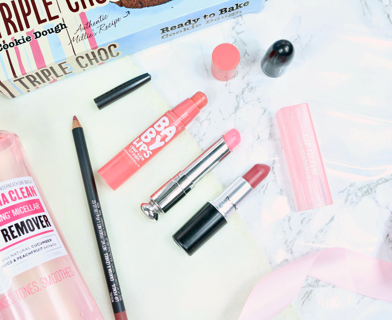 A beauty makeup review on my February Favourites including Maybelline Baby Lips, MAC Mehr, MAC Whirl, Dior Addict Lip Glow, Soap & Glory Total Drama Makeup Remover, Maybelline Push Up Drama Angel Mascara, MAC's Burgundy Times Nine Eyeshadow Palette and Millies Frozen Cookies.