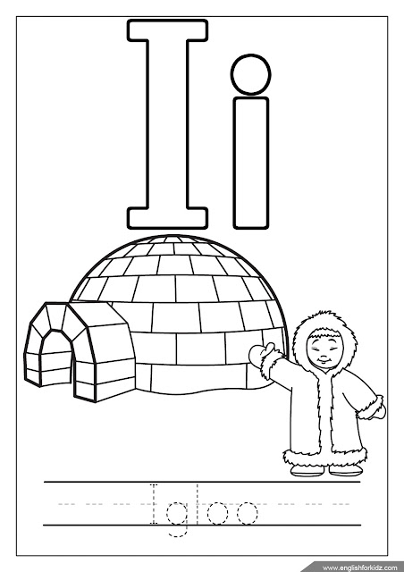 Alphabet coloring page, letter i coloring, i is for igloo