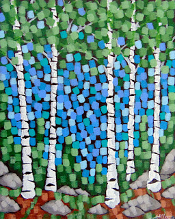 Silent Spring painting by artist aaron kloss, spring painting, duluth mn artist, pointillism, amity coffee art, northern minnesota painting of birch trees in spring woods landscape