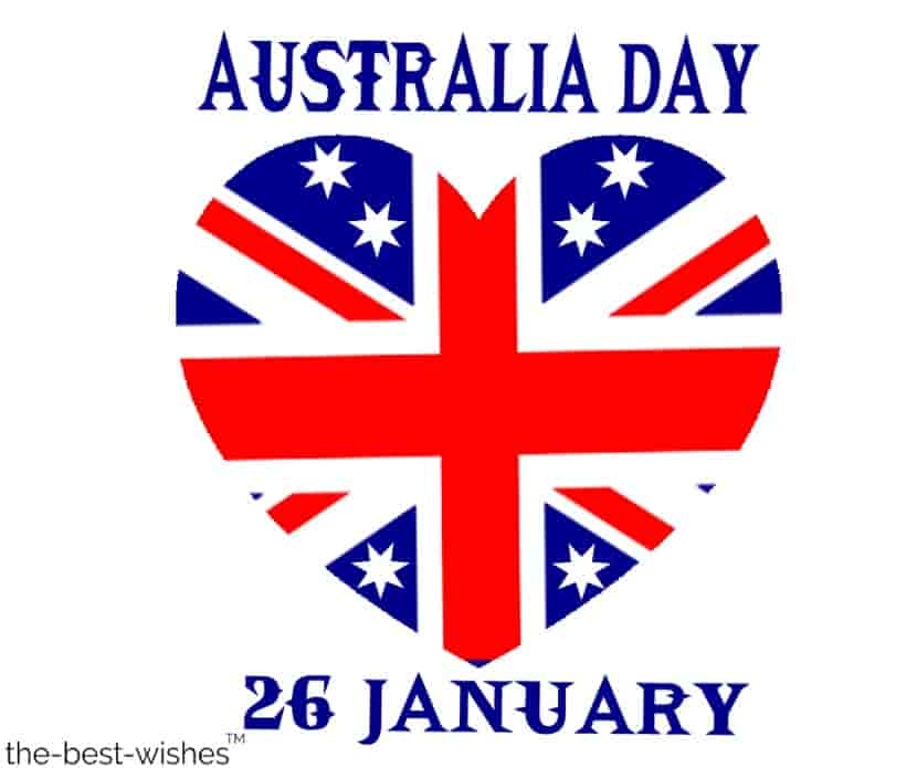 australia day with heart flag