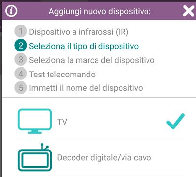 selezionare tipo di dispositivo