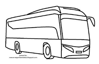 Mewarnai Gambar Mobil Bus Wartisen