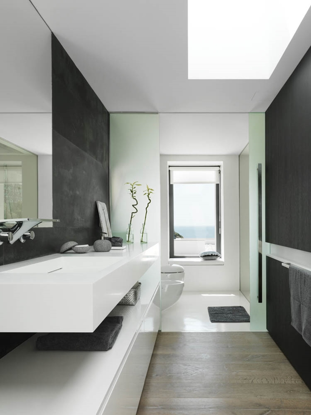 Modern narrow black and white bathroom