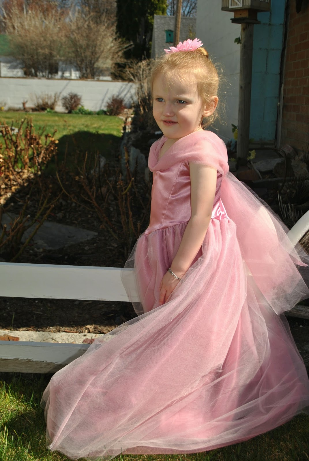 Little girl in pink princess party dress