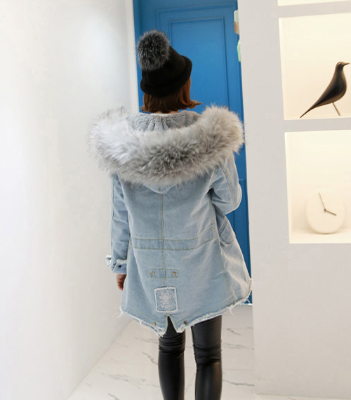Faux Fur Trim Hood Denim Jacket