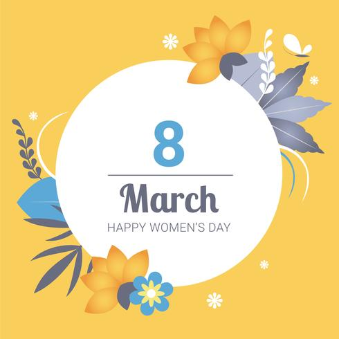 Woman day March 8 Greeting Card women's day Free Vector