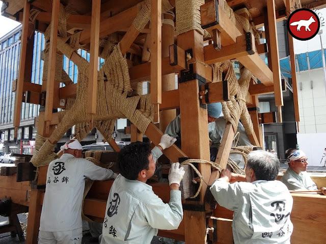 Fabrication d'un Hoko de la fête de Gion Matsuri