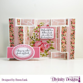 Divinity Designs Stamp Set: Daughter's Best Friend, Paper Collection: Pretty Pink Peonies, Custom Dies: Double Display Card, Double Display Layers, Belly Band, Rounded Rectangles, Double Stitched Rectangles, Layered Lacey Ovals, Ovals