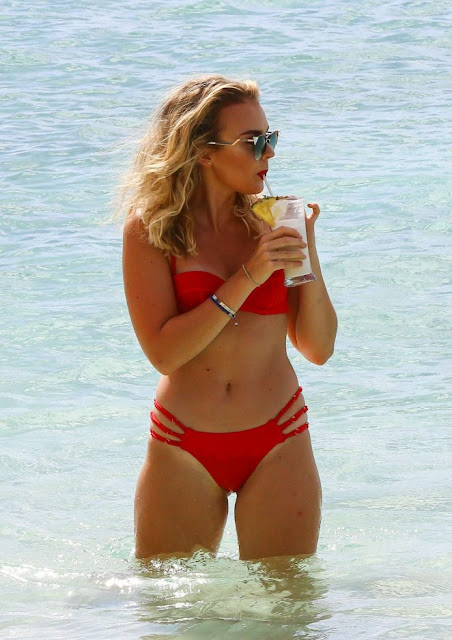 Tallia Storm in Red Bikini on holiday in Barbados