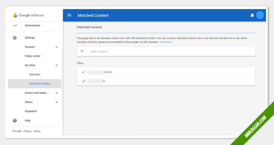 fungsi menu-menu adsense - konten yang sesuai