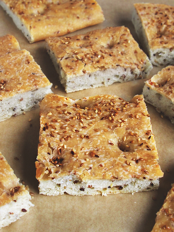 Toasted sesame seed focaccia tinascookings.blogspot.com