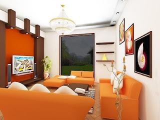 Sala en blanco y naranja